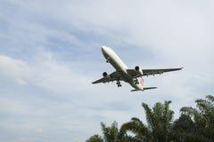 Flygplanslandning Arkivfoto
