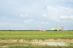 Flygplanslandning Royaltyfri Foto