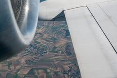 Flygplanvinge och turbin Fotografering för Bildbyråer