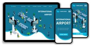 Flygplats för isometriskt begrepp för sida för Websitemalllandning internationell, passagerare i vardagsrummet, affärstur vektor illustrationer