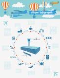 Flygplats flygresa som är infographic med designbeståndsdelar Infographi Royaltyfri Bild