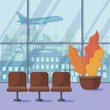 Flygplats från insidan Niv?n tar av Plan vektordesign vektor illustrationer