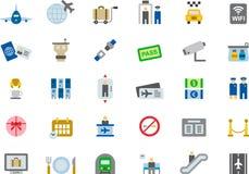 FLYGPLATS färgade plana symboler Arkivfoto