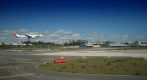 Flygplats Lissabon - plan landning för portugisiska flygbolag royaltyfria foton