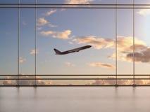 Flygplats med fönstret Royaltyfria Foton