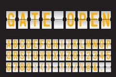 Flygplats mekaniska Flip Board Panel Font stock illustrationer