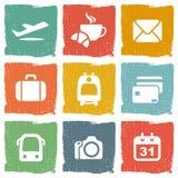 Flygplats- och flygbolagservicesymboler stock illustrationer