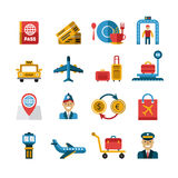 Flygplats- och flygbolagservicesymboler vektor stock illustrationer