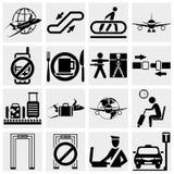 Fastställda flygplatsvektorsymboler. Eleganta seriesymboler och Royaltyfria Foton