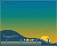 Flygplats på solnedgången Royaltyfria Bilder