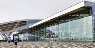 Flygplats Platov som byggs för den FIFA världscupen 2018 Passagerare a royaltyfri foto