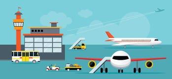 Flygplats terminal, jordningsarbete Vektor Illustrationer