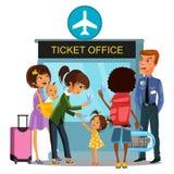 Flygplatsanställd kontrollerar logipass - pass, biljetter från folk som passerar porten, familj med, behandla som ett barn resor  Royaltyfria Foton