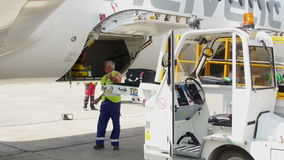 Flygplatsanställd lastar av bagage från en trafikflygplan på den internationella flygplatsen för Donaudeltan lager videofilmer