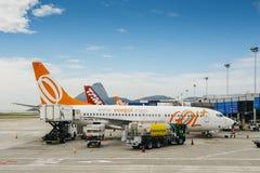 Flygplatsarbetare på Rio de Janeiro ` s Santos Dumont Airport bär ut arbetsuppgifter på ett Gol trafikflygplanflygplan Royaltyfria Bilder