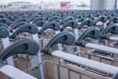 Flygplatsbagage carts lineupen Fotografering för Bildbyråer
