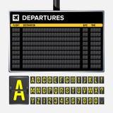 Flygplatsbrädevektor Mekaniskt flipflygplatsfunktionskort Svart flygplats och avvikelse eller ankomst för järnväg schema Destinat royaltyfri illustrationer