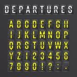 Flygplatsbrädevektor Mekaniskt informationsalfabet om schema Aalog stilsort royaltyfri illustrationer