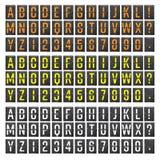 Flygplatsbrädevektor Realistisk mall för flipfunktionskortflygplats Svart bräde för flygplats 3d med alfabet och nummer Parallell royaltyfri illustrationer