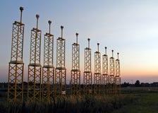 flygplatsbrussels solnedgång Arkivfoton