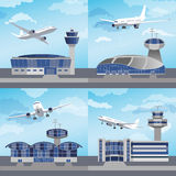 Flygplatsbyggnad med kontrolltornet vektor Arkivbilder
