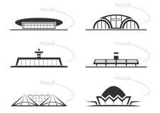 Flygplatsbyggnader Fotografering för Bildbyråer