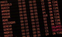 flygplatsdelaytecken Fotografering för Bildbyråer