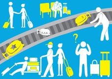 Flygplatsen, piloten, en invandrare, en turist- besökare, passagerare, bagage, flyg, symbol, familj också vektor för coreldrawill stock illustrationer