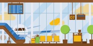 Flygplatser för ankomst för flygplatsvektoravvikelse som slutliga bygger rulltrappaplatsen i illustrationbakgrunden som förbi res stock illustrationer