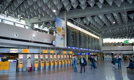 1 flygplatsfrankfurt terminal Tid minnestavla Royaltyfri Bild