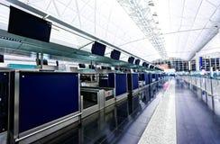 Flygplatsincheckningsdisk Fotografering för Bildbyråer