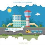 Flygplatslandskap Lopplivsstilbegrepp av att planera en sommar Arkivfoton