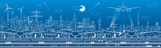 Flygplatspanorama Passagerare går till flygplanet Infrastruktur för flyglopptrans. Nivån är på landningsbanan natt vektor illustrationer