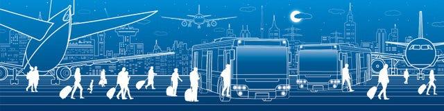 Flygplatspanorama Passagerare skriver in och går ut till bussen Infrastruktur för flyglopptrans. Nivån är på landningsbanan stock illustrationer