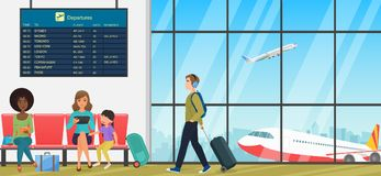 Flygplatspassagerarterminal med väntande rum med stolar och folkhandelsresande Internationella ankomst och avvikelser royaltyfri illustrationer