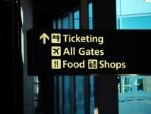 Flygplatsriktningstecken som etiketterar portlivsmedelsbutiker Arkivfoton