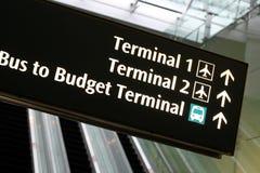 flygplatsrulltrappa undertecknar terminalen Arkivbild