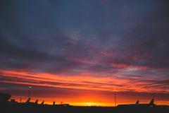 Flygplatssoluppgång Arkivbilder