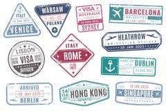 Flygplatsstämplar Invandring för visum för tappninglopppass ankom stämpeln med grungetextur Isolerad vektorupps?ttning royaltyfri illustrationer