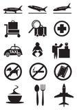 Flygplatssymbol och tecken stock illustrationer