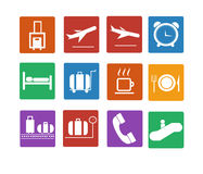 Flygplatssymbol. Plan symbolsuppsättning Royaltyfria Foton