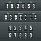 Flygplatstecken och nummer i kalenderklocka Fotografering för Bildbyråer