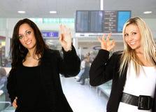 flygplatstekniker två Arkivfoto