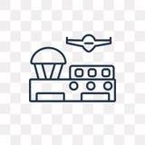 Flygplatsvektorsymbol som isoleras på genomskinlig bakgrund, linjärt A royaltyfri illustrationer