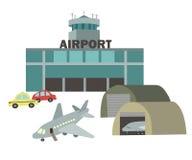 Flygplatsvektorteckning i stilen av barns illustration Royaltyfri Bild