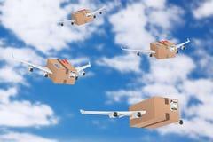 Flygpost sändande begrepp Kartongjordlotter med Jet Engines Fotografering för Bildbyråer