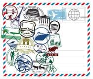 Flygpost vykort med internationella stämplar Royaltyfri Foto