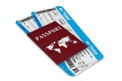 Flygresabegrepp. Flygbiljetter med passet Arkivbild