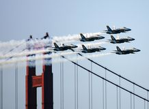Flygshow för blåa änglar Arkivbild