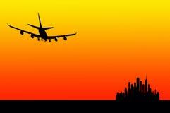 flygsolnedgång stock illustrationer